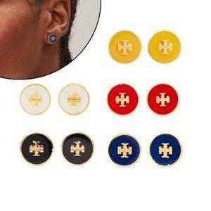 Tory Burch Enamel Glazed Logo Flat Round Earrings